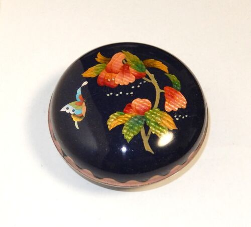 ROYAL BLUE CLOISONNE GINBARI ENAMEL BUTTERFLY FLORAL TRINKET BOX
