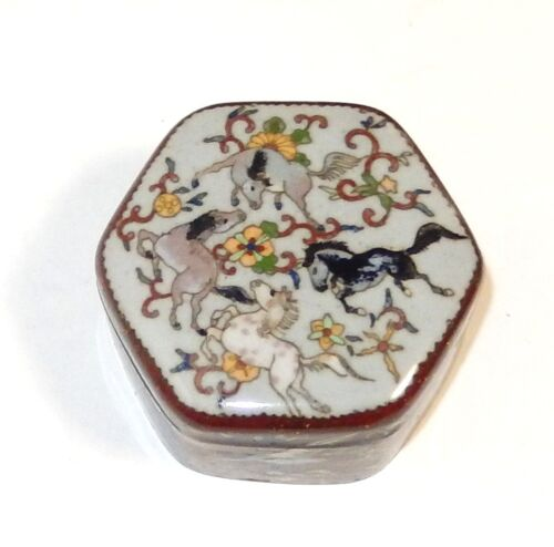 RARE OLD JAPANESE CLOISONNE GINBARI ENAMEL HORSES AND PHOENIX BIRDS HEXAGON BOX