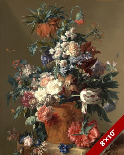 OVER FLOWING FLOWER POT IN BLOOM STILL LIFE PAINTING ART REAL CANVAS PRINT