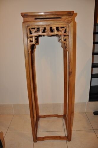 Chinese HuangHuaLi Wood Flower Stand Tall Side Table