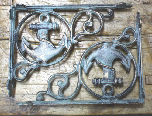 4 Cast Iron NAUTICAL ANCHOR Brackets Garden Braces Shelf Bracket PIRATES SHIP