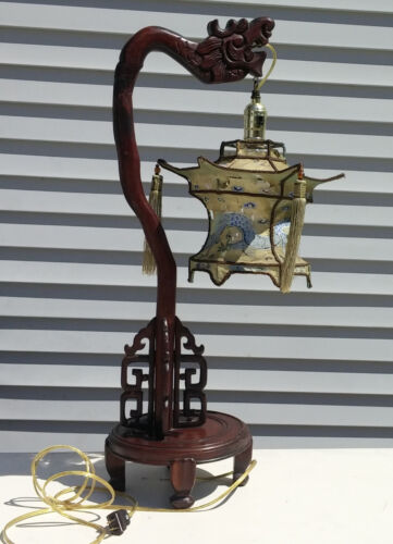 Antique Victorian Carved Rosewood Figural Dragon Table Lamp, Hand Painted Shade