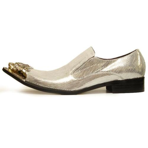 Men's Fiesso Silver Metallic Leather Pointed Toe Shoes Silver Metal Tip FI 6981