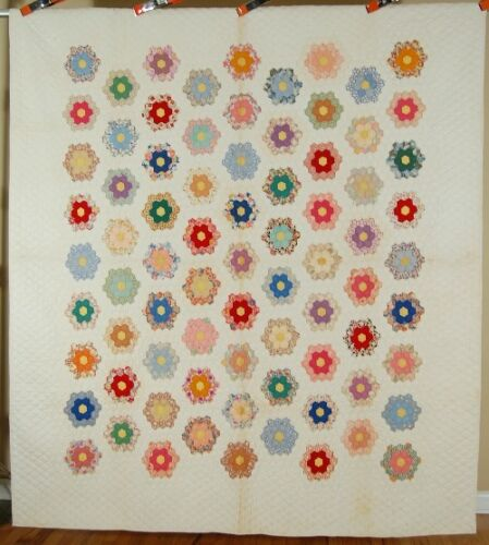 WELL QUILTED Vintage 30s Grandmother's Flower Garden Antique Quilt ~SMALL PIECES