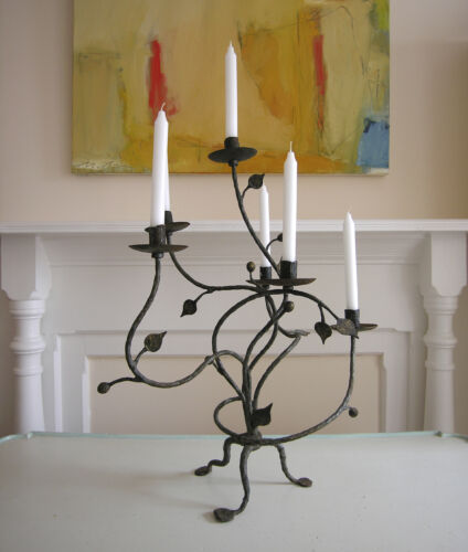 Antique Candelabra - Hand Forged Wrought Iron - 6 Candle