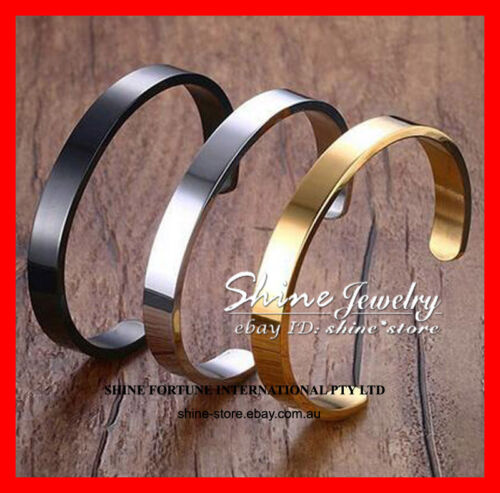 SILVER BRACELET SOLID STAINLESS STEEL PLAIN POLISHED ENGRAVABLE MENS CUFF BANGLE