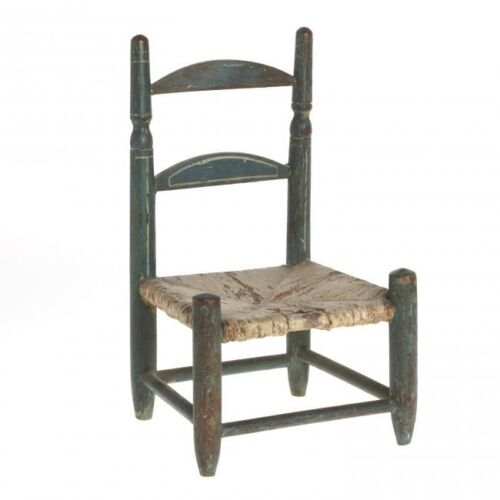 ANTIQUE AMERICAN BLUE PAINTED MINIATURE CHAIR, 18TH/19TH C. , PENN. DUTCH?