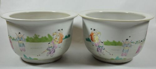 Pair Of Chinese Famille Rose Flowerpots With scene Of Boys Playing