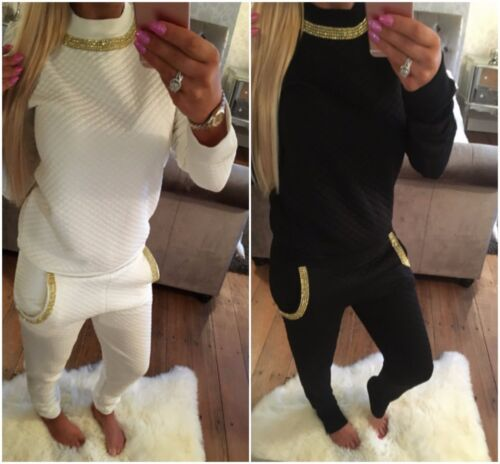 New Ladies Quilted Tracksuit Lounge wear diamante details jogging bottom 08-26