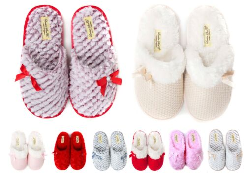 Ladies & Girls Premium Slip On Slippers Size 3 to 8 UK WARM FAUX FUR LINED MULES <br/> MACHINE WASHABLE FUR LINED