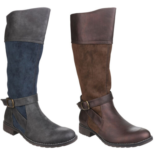 Divaz Garbo Knee High Zip Up Womens Two Toned Fashion Boots Shoes UK3-8
