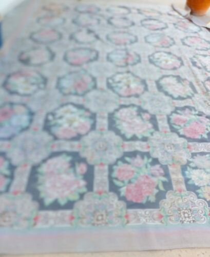 Antique Chinese Needlepoint Area Rug 8.5' x 11.5' Hand-hooked Wool