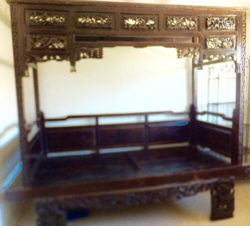 Exquisite Antique Chinese Hand Carved Wood Wedding Opium Canopy Bed