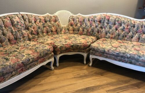 Antique Re-upholstered French Provincial 3-Piece  Sectional Sofa Set