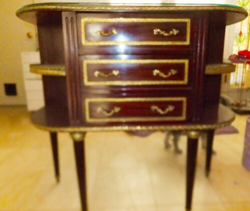 Antique Wood with Brass Side Table with Glass Top and 3 Drawers