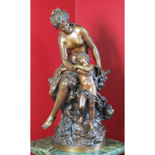 Antique French Bronze Group Venus & Cupid, Mathurin Moreau (1822-1912)