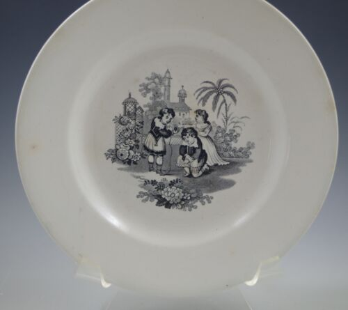c.1840 JAMES EDWARDS ENGLISH IRONSTONE PLATE, VICTORIAN CHILDREN BLACK TRANSFER