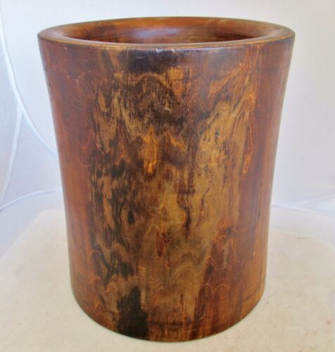 "Vintage ? Big Chinese Wood Brush Pot  (10"")"