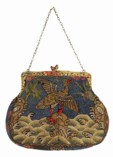 19th Century Chinese Silk Embroidery Civil Rank Badge Purse Coral Turquoise Bead