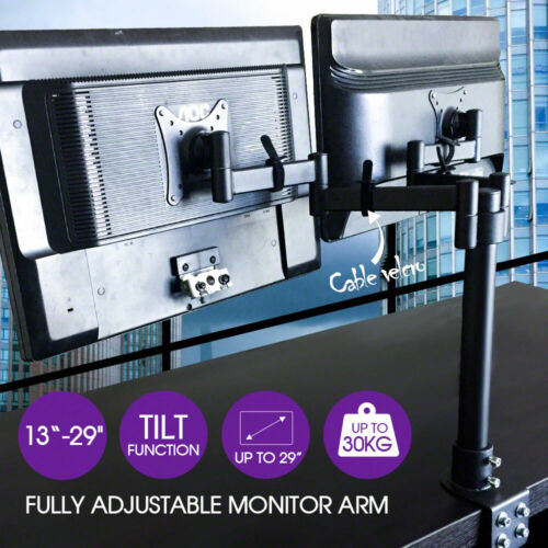 Dual HD LED Desk Monitor Stand Mount Bracket 2 Arms Holds LCD Screen TV AU Stock