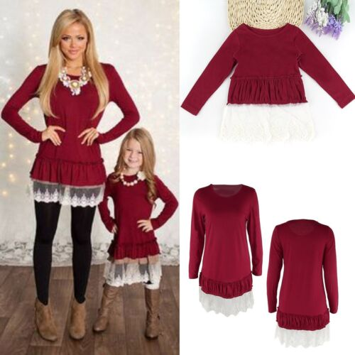 Mother & Daughter Lace Dress Kid Girl Parent Family Matching Party Casual Blouse