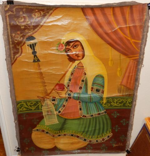 WOMAN OF INDIA OLD 19TH CENTURY ORIGINAL OIL ON CANVAS PAINTING SIGNED