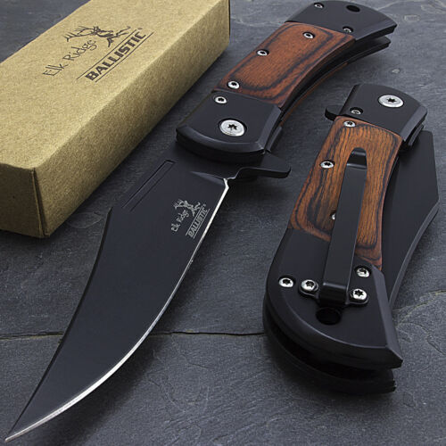 "8.5"" ELK RIDGE WOOD SPRING ASSISTED FOLDING TACTICAL POCKET KNIFE Open Assist"