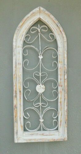 """Wooden Antique Style Church WINDOW Wrought Iron Primitive Wood Rustic Gothic 27"""""""