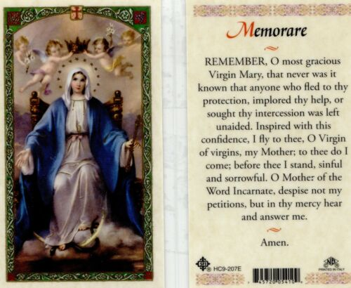 Memorare (English Version) Virgin Mary Prayer Card Laminated Holy Cards