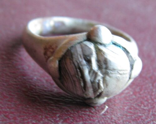 Authentic Ancient Artifact   Viking Silver Bead Ring Sz 7 1/2 US 17.75mm VK 65