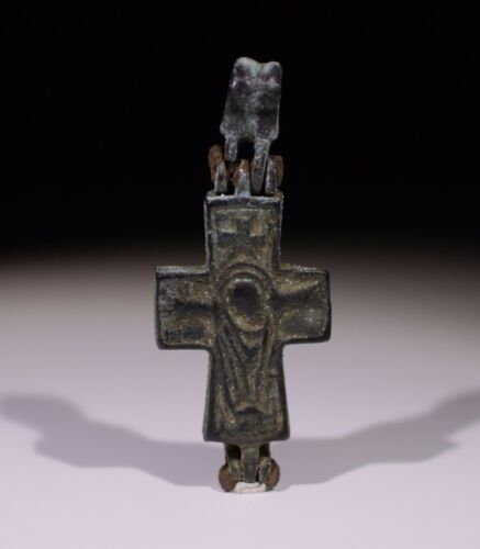 LOVELY BYZANTINE BRONZE RELIQUARY CROSS CIRCA 6TH-12TH CENTURY AD