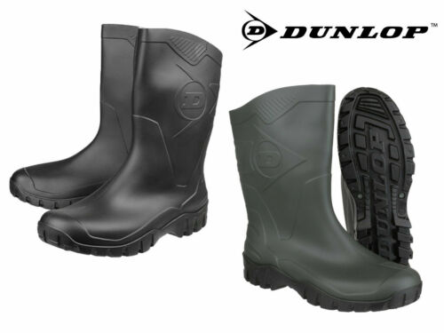 Unisex Dunlop DEE Short Half-Length Wellington Wellies Boots WIDE CALF 4-12 UK