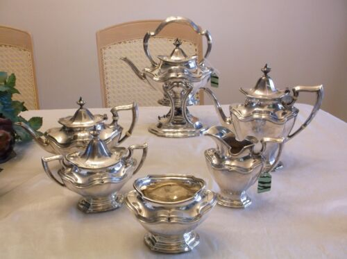 REED & BARTON HEPPLEWHITE PLAIN 6 PIECE 1907 STERLING SILVER HOLLOW WARE SERVICE