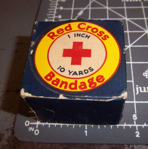 vintage Red Cross bandage, new in box, 10 yards x 1 inch, great colors & graphic