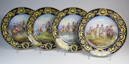 Four Antique SEVRES Napoleon Hand-Painted Cabinet Plates - Artist A. Maglin