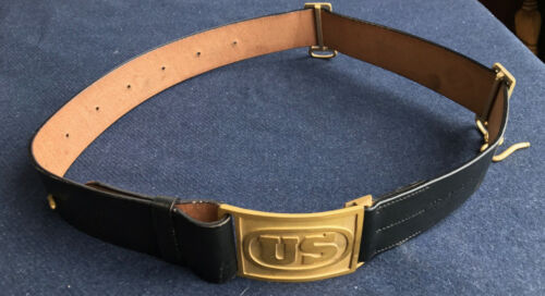 M1874 Cavalry Leather Saber Belt with US Buckle Size LARGE (42-48) Indian WarsReproductions - 156384