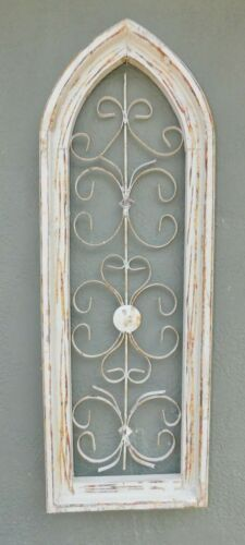 Wooden Antique Style Church WINDOW Wrought Iron Primitive Wood Gothic 34 INCH