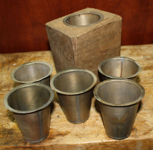 6 Replacement Sugar Mold Candle Holder Primitive TIN CUP Votives Candles