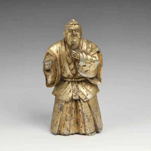 VINTAGE CHINESE GILDED METAL FIGURE DEPICTING A SCHOLAR OFFICIAL ELITE CONFUCIUS