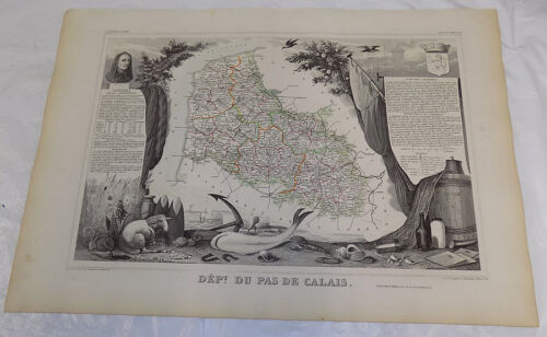 1856 Map/FRANCE, DEPT. DU PAS DE CALAIS/Political Division/Outstanding Graphics