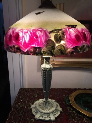 ANTIQUE PITTSBURGH REVERSE PAINTED LAMP CABBAGE ROSES CHIPPED ICE