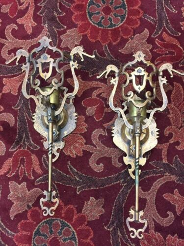 Tudor Revival Cast Bronze sconces with Mica Shields- Dragons 1920's original
