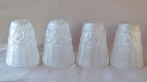 French Four Art Deco Molded Frosted Glass Tulip Lamp Shades - Flower Chandelier