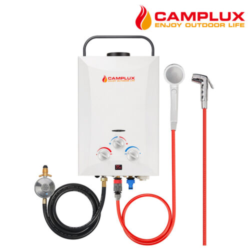 CAMPLUX Portable Gas Hot Water Heater Shower Camping Caravan Outdoor LPG 4WD <br/> 2 Shower Head, 2 Years Warranty