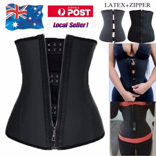 Latex Zip Waist Trainer Body Shaper Corset Tummy Cincher Training Slim Sports KY <br/> 7 Steel Boned Slimming Girdle Fat Burner Zipper Corset