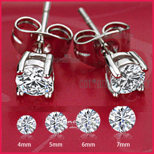 925 STERLING SILVER MENS LADY KIDS CT LAB DIAMOND CLAW ROUND STUD EARRINGS GIFT