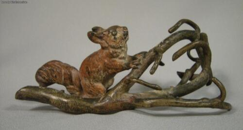 Antique Austrian Cold Pianted Vienna Bronze Squirrel With Branches