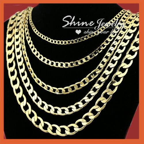 18K YELLOW GOLD GF FLAT RING CURB CHAIN WOMEN MEN SOLID CHARM 16-30INCH NECKLACE