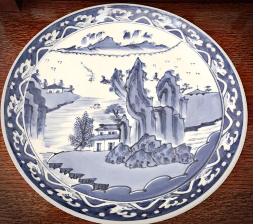 "Beautiful Large 16"" Blue and White Canton Chinese Porcelain Charger"