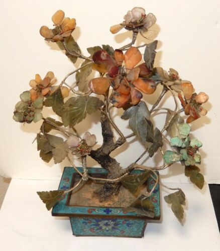 OLD 19TH CENTURY JADE TURQUOISE FLORAL BLOSSOM TREES WITH CLOISONNE ENAMEL POT